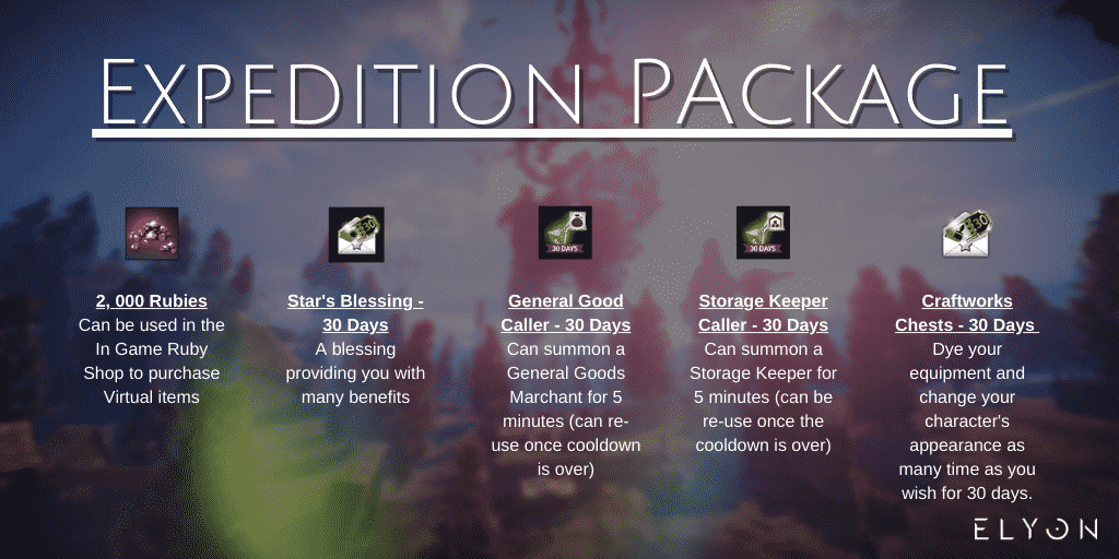 elyon expedition package